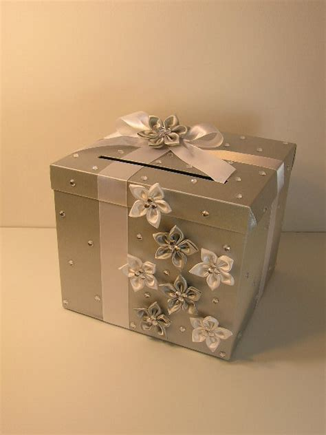 Personalized Silver Reception Gift Card Mailbox Ho Lder - silver and white wedding card box gift money holder