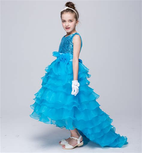 2016 summer flower dress child prom dresses evening dresses high low