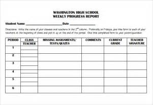 Student Grade Report Template by Sle Weekly Progress Report 6 Documents In Pdf Word