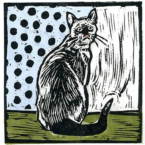 Home Decor Catalogs List by Vintage Cat By Lisa Kesler Linocut Print Artful Home