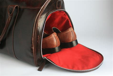 bag with sneaker compartment leather weekend bag with shoe compartment dayony bag