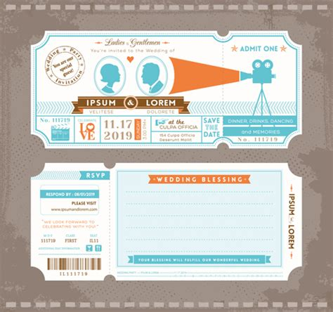 ticket invitations template free wedding invitation ticket template vector 02 vector card