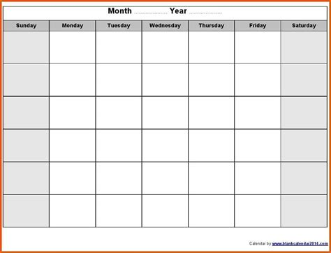 printable calendar empty blank monthly calendar printable bing images