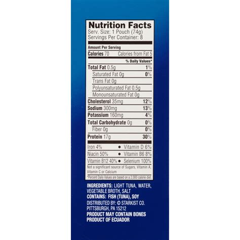 starkist chunk light tuna starkist chunk light tuna pouch nutrition facts