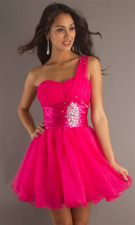 Dress Pink one shoulder prom dresses dressed up
