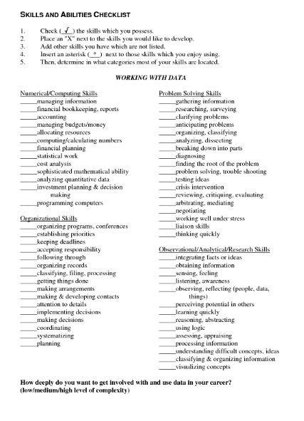 exles of resume skills and abilities resume skills and abilities sle http