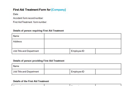 first aid treatment form template bizorb