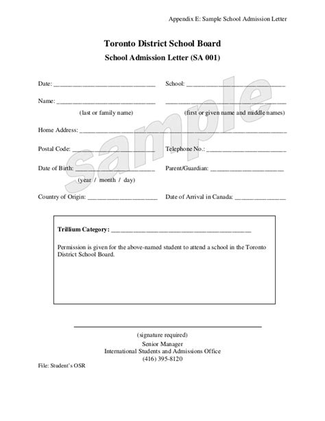 Withdrawal Passport Letter Toronto School District Info