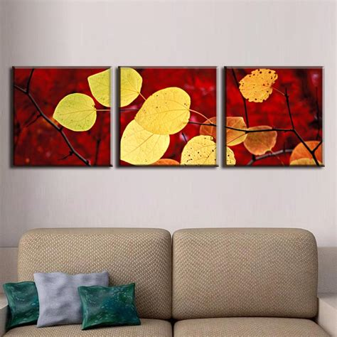 3 pictures framed canvas painting home decor wall painting 3 pcs set autumn leaves painting canvas print modern wall