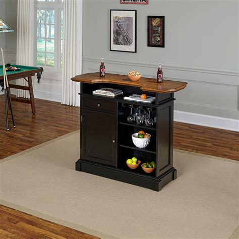home styles americana 4 shelf black and oak bar with foot