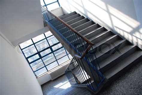 Indoor Banisters Interior Of Public Building With Gray Staircase Stock