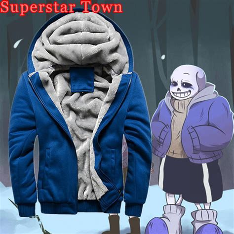 Sweater Undertale Hitam Zem Clothing undertale sans papyrus hoodie hooded thick coat winter warm sans jacket costume