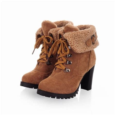 fashion ankle boots high heels lace up snow boots