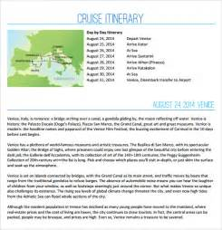 sample cruise itinerary 8 documents in pdf word