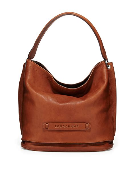 hobo leather bags longch 3d leather hobo bag in brown lyst