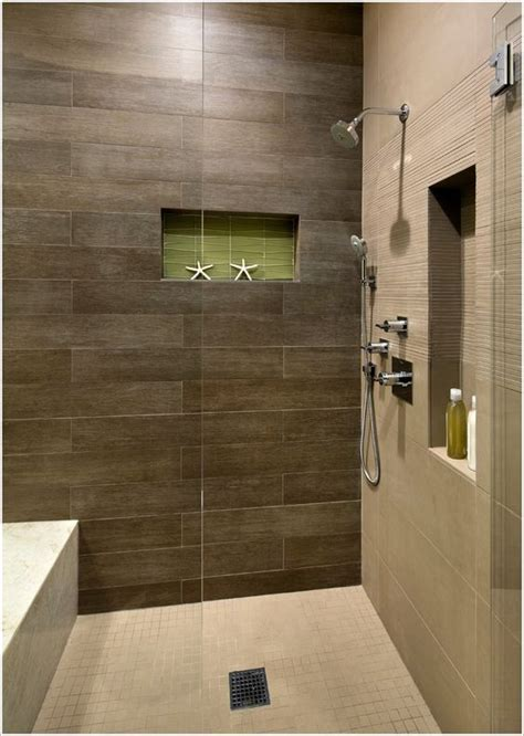 dark bathroom tile shower with dark brown tile and light floor google