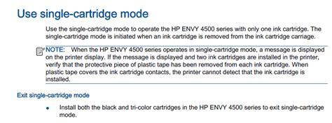 resetting hp envy 4500 printer envy 4500 printer single cartridge mode error hp support