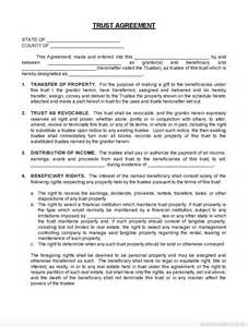 real estate trust agreement forms free printable word
