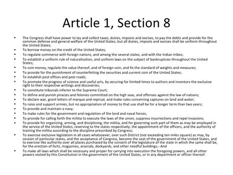 What Is Article 1 Section 8 Clause 18 by Article 1 Section 8 Bbcpersian7 Collections