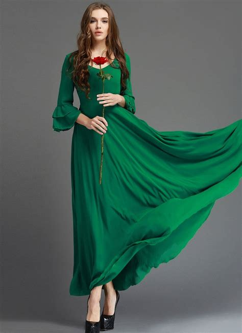 Zaina Dress Dress Gamis Maxy Dress Longdress emerald green maxi dress with 3 quarter trumpet sleeves rm364