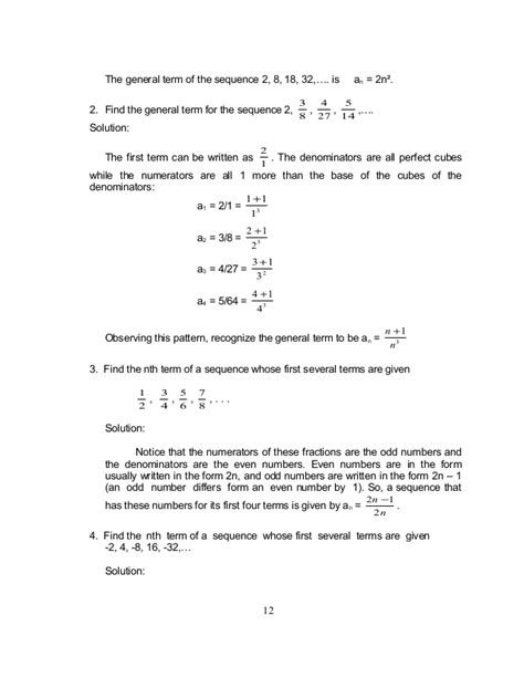 define general pattern in math grade 10 math module 1 searching for patterns sequence