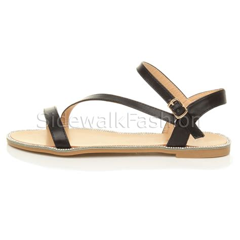 flat evening sandals womens flat strappy diamante edge summer