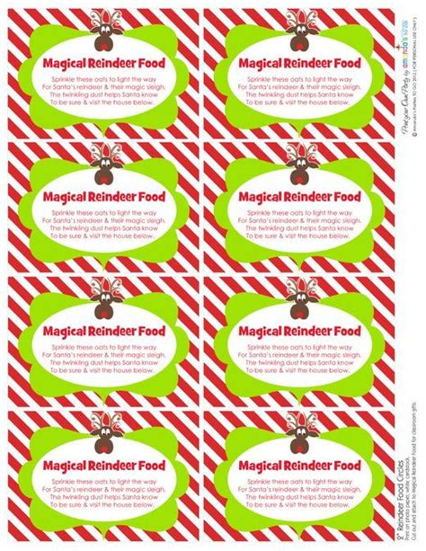 printable reindeer chow gift tag 6 best images of printable reindeer food saying magic