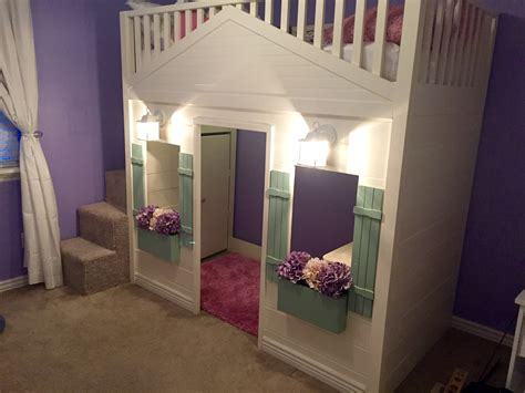 ana white cottage loft bed playhouse with stairs lights