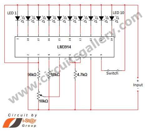 led voltage indicator circuit gt circuits gt led dot display based battery charge level indicator circuit diagram l36919 next gr