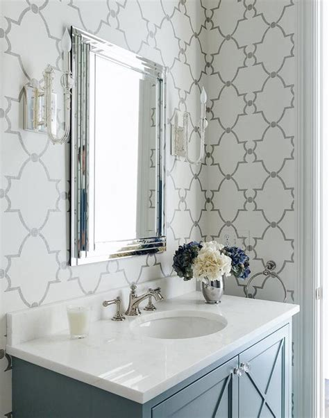 grey wallpaper for bathroom gray bathroom with quatrefoil wallpaper transitional