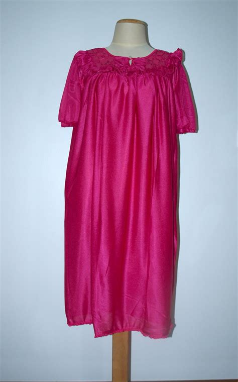 Arms Length Co Sleeper by Vintage Sheer Sleep Wear Lace Detail Raspberry Color Womens Nightgown