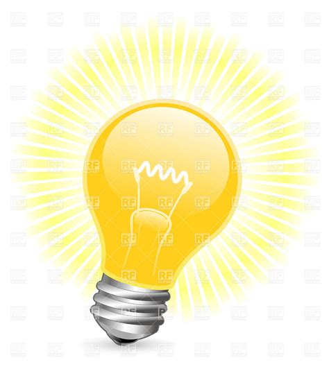 Light Bulb With Beams Royalty Free Vector Clip Art Image Light Clipart