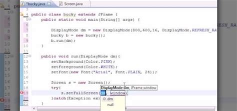 simple java swing program how to use the display mode method in when java