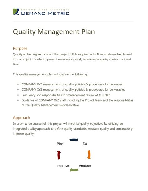 project quality management plan template pmbok quality management plan