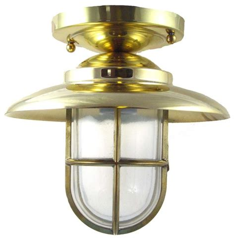 hooded flush mount light solid brass interior exterior