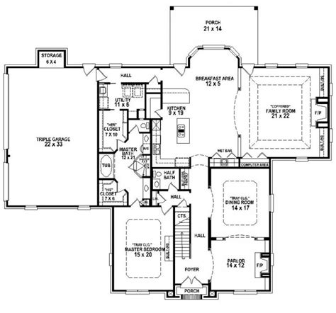 5 Bedroom 3 Bath House Plans by 654259 Traditional 3 Bedroom 3 5 Bath House Plan