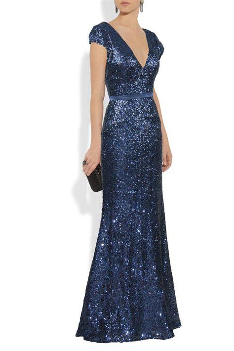 blue sequin v neck cap sleeve evening dress