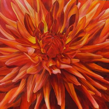List Of Flowers by Flower Paintings By Sarah Caswell Fabulous Orange Dahlia