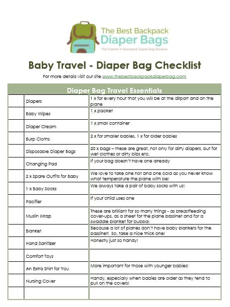printable toddler travel checklist what s in my baby travel bag free traveling with baby