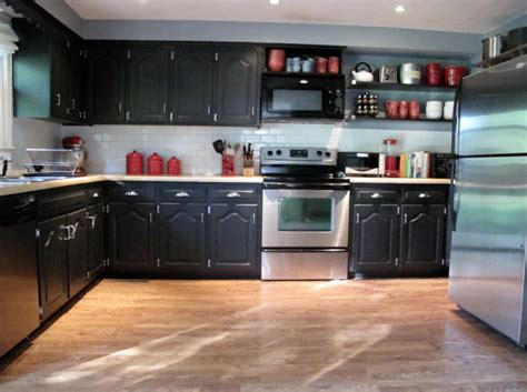Black Painted Kitchen Cabinets Home Furniture Design Painted Black Kitchen Cabinets