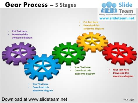 Interconnected Gear Pieces Smart Arts Process 5 Stages Style 2 Power Smartart Templates Powerpoint