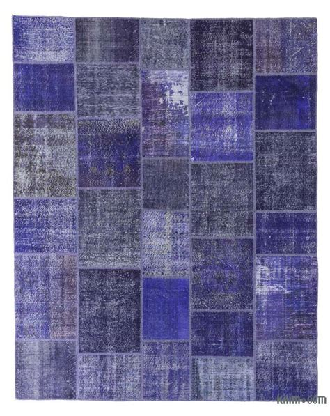 k0018714 blue dyed turkish patchwork rug