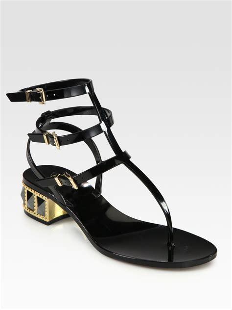 valentino studded sandals valentino rhinestone studded sandals in black lyst