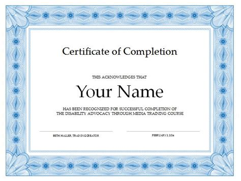Certificate of Completion   Disability Advocacy through