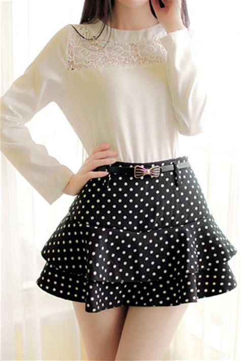 Jennigje Line Spandek Mini Dress cheap flouncing design polka dots print black spandex a line mini skirt skirts bottoms