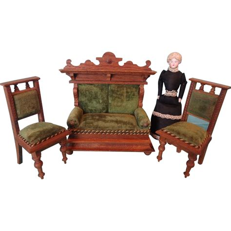 dolls house sofa and chairs german oak sofa and chairs with velvet upholstery for doll house from jackieeverett on ruby lane