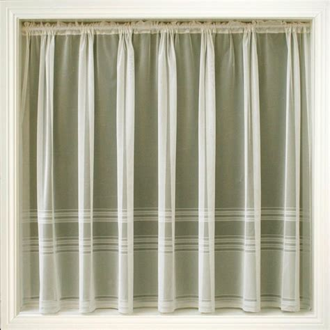 all in one curtains cream ivory net curtain plain stripe hudson all sizes ebay