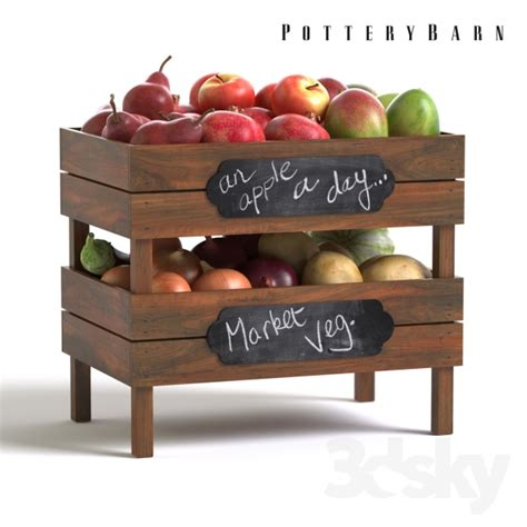 Stackable Fruit And Vegetable Crates Diy Pottery Barn 3d Models Food And Drinks Pottery Barn Stackable Fruit