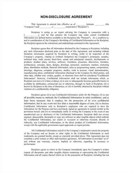 free confidentiality agreement template printable sle non disclosure agreement sle form