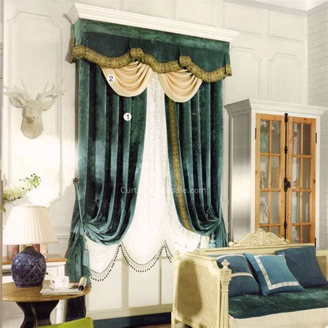 vintage drapes dark green vintage curtain chenille fabric no valance